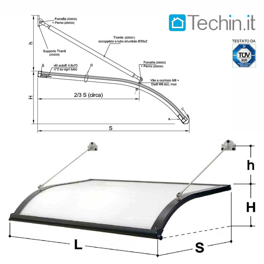 Tettoie pensiline mod onda su misura tettoie pensiline - Misure garage per 2 auto ...